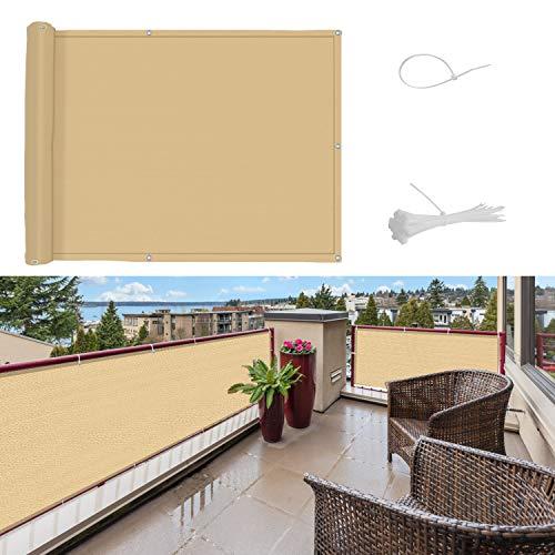 SUNNY GUARD Pantalla para Balcón Jardín Protección de Privacidad HDPE Resistente a los Rayos UV Protección contra el Viento, con Ataduras de Cables,90 * 400cm Arena