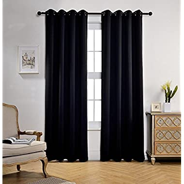 Miuco 1 Pair Thermal Insulated Grommet 52-Inch-by-84-Inch Blackout Window Curtain Panels with 2 Tie Backs, Black