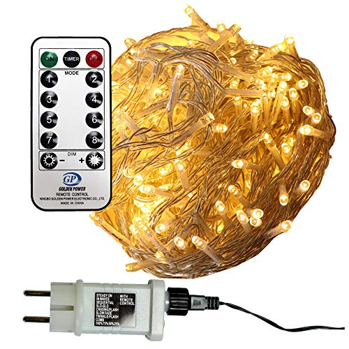 240 LED Lichterkette warmweiß aussen Kabel transparent mit Timer Fernbedienung Progamme Dimmen