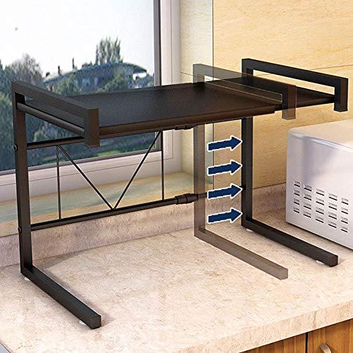 panthem Mikrowelle Regal Küche Mikrowellenhalterung, Breite Verstellbar 43-63 cm Küchenregal Arbeitsplatte Küchenablage Organizer Mikrowellenregal Ofen Mikrowelle Rack mit 3 Aufhängehaken