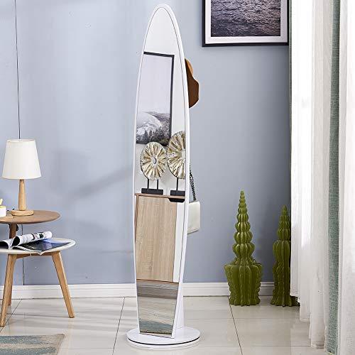 Detachable Oval Wood Large Bathroom Mirror with 5 Hooks
