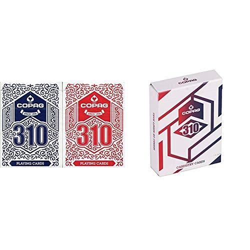 Copag 310 Doppeldeck (rot/blau) & 310 Alpha - Cardistry Spielkarten, mit True Linen B9 Finish