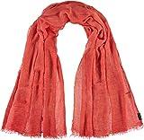 FRAAS Damen-Schal aus 100% Viskose - 100 x 200 cm Größe - Modische einfarbige Stola mit Fransen - Perfekt für den Frühling und Sommer Coral