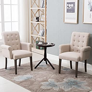 Harper&Bright Designs Stylish Fabric Tufted Dining Chair Accent Chair with Armrest and Solid Wood Legs (Beige)