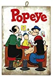 KUSTOM ART Cuadro de estilo vintage serie cómics Popeye brazo de hierro de colección impresión sobre madera – Idea regalo