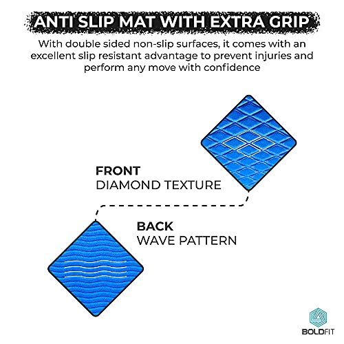 Boldfit Yoga mat for Women and Men with Cover Bag EVA Material 6mm Extra Thick Exercise mat for Workout Yoga Fitness Pilates and Meditation, Anti Tear Anti Slip For Home & Gym Use
