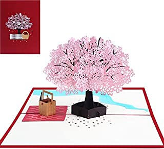 Pop Up Card, Cherry Blossom 3D Greeting Card for Mothers Day, Birthday, Christmas, New Year, Anniversary, Valentine, Wedding, Graduation, Thank You.