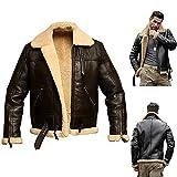 Men's Aviator Real Leather Jacket Coat, Fur Collar Real Sheepskin Leather Jacket, Lapel plus...