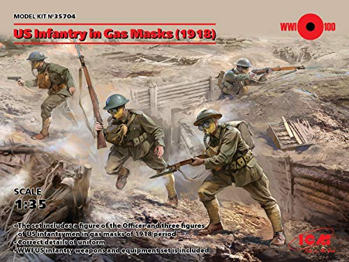 ICM 35704 US Infantry in Gas Masks(1918) 4 Figures
