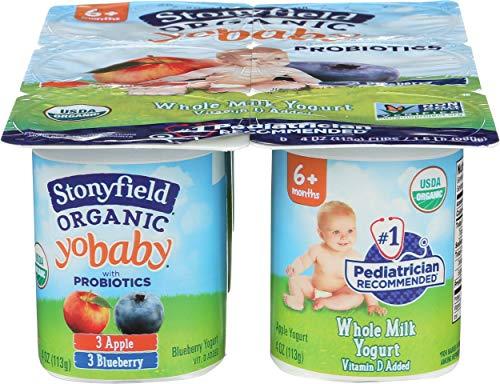 Stonyfield Farm, Yogurt Yobaby Blueberry Apple Organic, 4 Ounce, 6 Pack