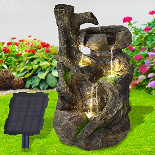 profi-pumpe.de Solar Gartenbrunnen Brunnen Solarbrunnen Zierbrunnen Wasserfall Gartenleuchte Teichpumpe für Terrasse, Balkon, mit Pumpen, mit Liion-Akku & Led-Licht (BAUMWURZEL & Stein-Kaskade)