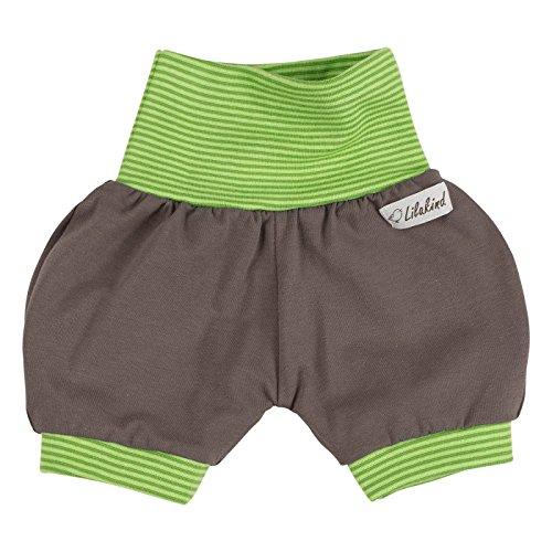 """Lilakind"""" Kurze Kinder-Hose Baby Shorts Buchse Sommerhose Mädchen Jungen Uni Streifen Grün Grau Gr. 74/80- Made in Germany"""