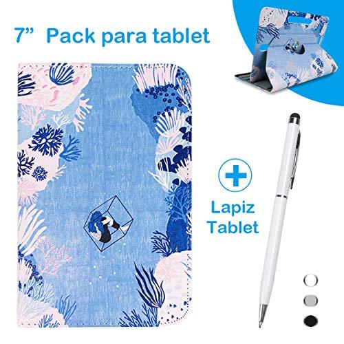 BEISK Pack para Tablet, Lápiz Tactil + Funda de Tablet 7-8 Pulgadas con Sistema Giratorio de 360 Grados, Lapiz táctil para Huawei Mediapad/Samsung Galaxy etc, Corales