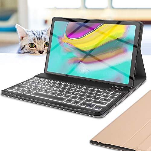 Wineecy Galaxy Tab S4, Tab S5e, Tab A 10.1 2016, Tab A 10.1 2019, Tab A 10.5 2018 Keyboard Case (Galaxy Tab S5e, Gold)
