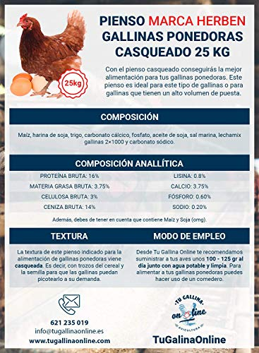 Pienso Gallinas Ponedoras Casqueado, Saco de 25 Kg   Pienso de 1º Calidad, Rico en Nutrientes y Propiedades