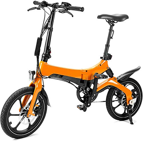 JXH Folding Electric Bike - Lightweight Foldable Compact Ebike for Commuting & Leisure - 16 Inch Wheels, Rear Suspension, Pedal Assist Unisex Bicycle,36V