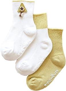 Da.Wa, Da.Wa 3 Pares Calcetines Gruesos para Bebés Calcetines Largos de Algodón Suela Antideslizantes para Niños Recién Nacidos Invierno Cálidos Suaves y Cómodos (S 0-1 años)