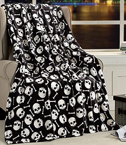 Newhomestyle Skull Bones Throw Blanket Soft Warm Cozy Lightweight Decorative Blanket for Couch, Bed, Sofa, Travel 60x80 inch