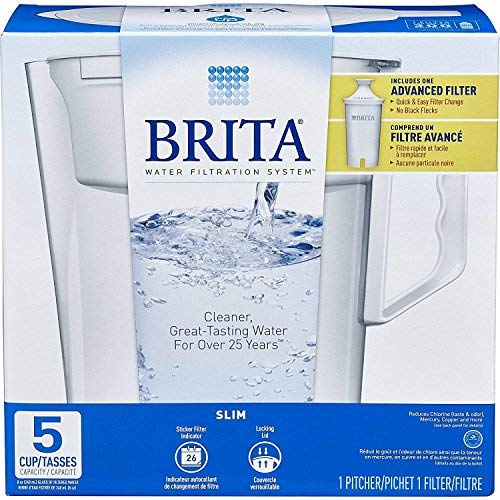 Brita Water Pitcher, Slim, 5 Cup Capacity, Includes One Advanced Filter-White, Size