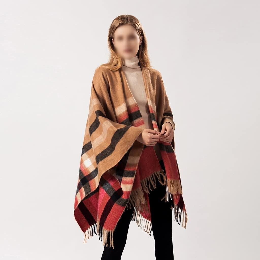 LSDJGDDE Women Stripe All-Match Autumn Winter Warm Split Thick Plaid Scarf Ponchos Capes Travel Shawl (Color : Brown, Size : 140X150CM)