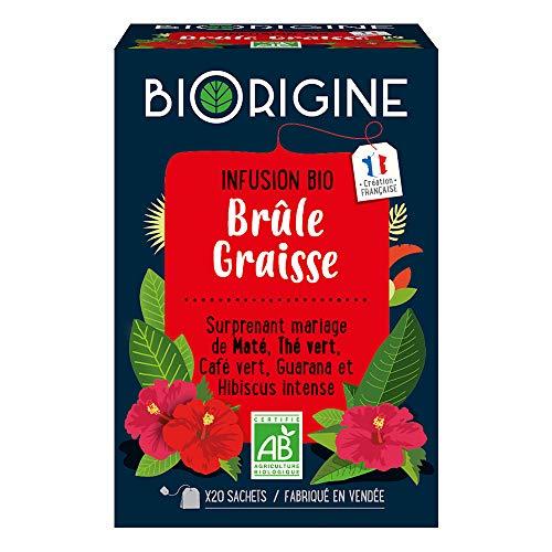 BiOrigine – Infusion Brûle-graisse – Maté & thé vert – Ingrédients d'origine naturelle – Fabriqué en France – 20 sachets