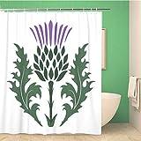 Awowee Decor Duschvorhang, grüne Blumen-Distel, Onopordum Acanthium, schottisches Weiß, Lila, 180 x 180 cm, Polyester, wasserfest, mit Haken für das Badezimmer