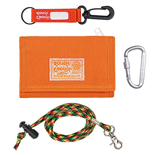 Rough Enough Kids Wallets for Boys Teen Girls Lanyard Keychain Canvas Wallet with Zipper Unique Birthday Gifts Orange