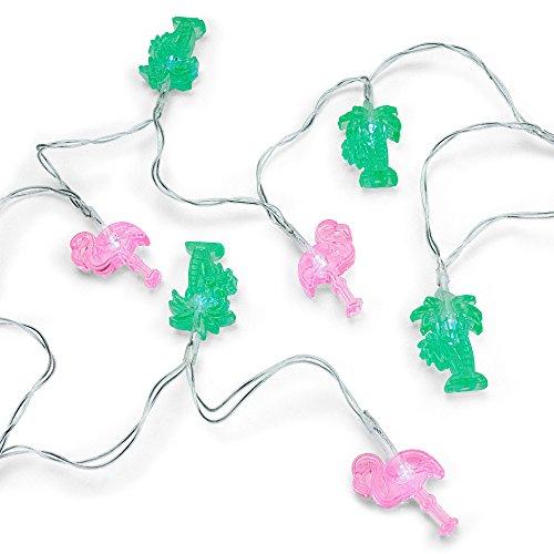 MUSTARD - Tropical Fairy Lights I LED Lichterkette I witzige Kette mit LED-Leuchten I Deko-Lichter I geeignet für Indoor I dekorative Lichterkette mit 2 Saugnäpfen I Geschenkidee - Flamingos/Palmen