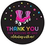 40 cnt Roller Skating Thank You Labels - Roller Skate Birthday Favor Stickers (Black Background)
