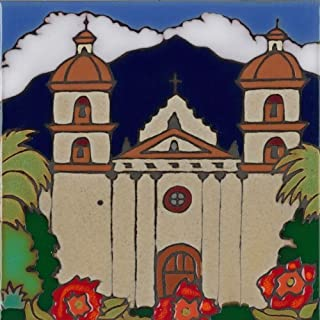 Pacific Blue Tile, Original Hand Painted Ceramic Art Tile, 6 x 6 inch - Mission Santa Barbara