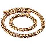 CHXISHOP Collar de pulsera conjunto de hombres Hip Hop Rap Accesorios Cuban Collar Pulsera Personalidad Moda Collar de Oro Titanio Joyería Oro-45cm