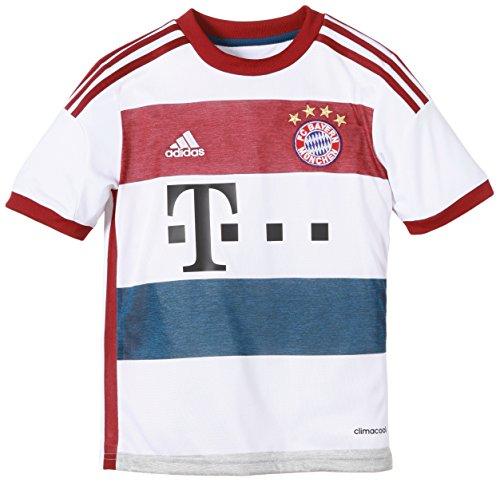 adidas Jungen Spieler-Trikot FC Bayern München Replica Auswärts, White/Mid Grey S14/Collegiate Burgundy/Tribe Blue S14, 164