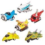 HERSITY 6 Pièces Avion Jouet Métal Pull Back Voiture Enfant Avion Miniature Hélicoptère Cadeau Enfant 3 4 5 Ans Garçon Fille