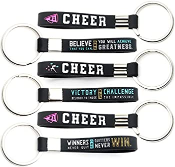 12-pack  Cheerleading Keychains with Motivational Quotes - Wholesale Pack of Key Chains in Bulk for Giveaway Gifts for Cheer Team Cheerleading Theme Party Favors and Supplies for Girls and Women