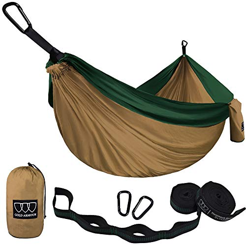 Gold Armour Camping Hammock - USA Brand Single Parachute Hammock (2 Tree Straps 10 Loops/20 ft Included) Lightweight Nylon Portable Adult Kids Best Accessories Gear (Khaki and Green)