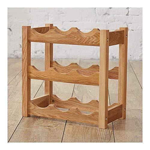 Estantería de vino Encimeras de escritorio del soporte de exhibición de independiente 9 de rack botella de vino, botella de madera estante, estantes de almacenamiento bar bodega estante vino perfecto