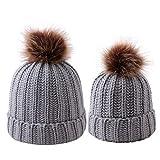 ROSEBEAR Eltern Kind Mütze Mutter Baby Hut, Kinder Wintermütze Beanie Mütze Jungen Mädchen Winter Warm Strickmütze (Grau)
