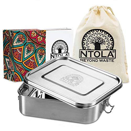 NTOLA Brotdose Edelstahl Kinder   1200ml Lunchbox aus Metall   auslaufsicher & klimaneutral   Brotbox Set mit Trennwand & Ersatzdichtung   Vesperdose für Kindergarten, Schule & die Arbeit