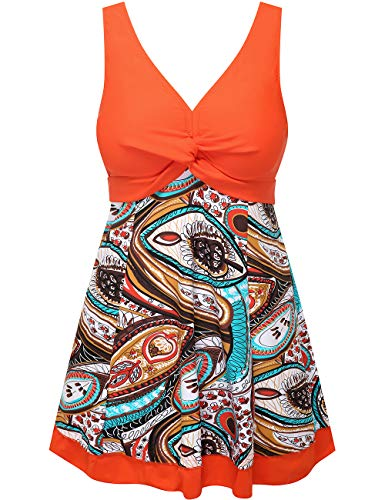 Wantdo Women's Modest Swimsuit One Piece Swimwear Beachwear LilyOrange US 6-8