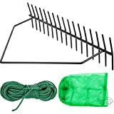 VEVOR Pond Rake, 32inch Aquatic Weed Rake, Double Sided Lake Weed Cutter, Clean Aquatic Weeds Muck Silt Lake Rakes, Weed Rake Tool for Lake Pond Beach Landscaping, Lake Weed Rake with 66ft Rope