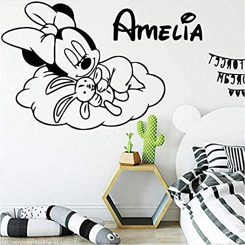 Personalisierte Benutzerdefinierte Name Minnie Mouse Vinyl Wandaufkleber Dekor Für Babys Zimmer Kinderzimmer Dekoration Aufkleber Wallsticker 79X42 Cm Wandaufkleber Tapete 3D