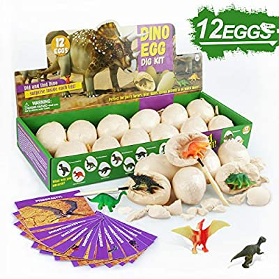 Touber Dinosaur Eggs Excavation, Dig a Dozen Dino Eggs Kit Dinosaur Eggs for 4-11 Year Olds Kids Easter Gifts for 5-12 Year Olds Boys Girls Easter Toys for Kids STEM Games for Kids 6-13 - Easter Eggs