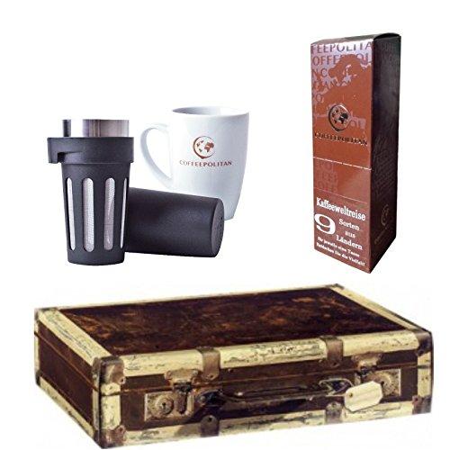 Coffeepolitan Premium-Geschenk Kaffee-Weltreise mit Zubereitungsset - 9 Kaffeesorten aus 9 Ländern - ideal als Weihnachtsgeschenk oder zum Advent