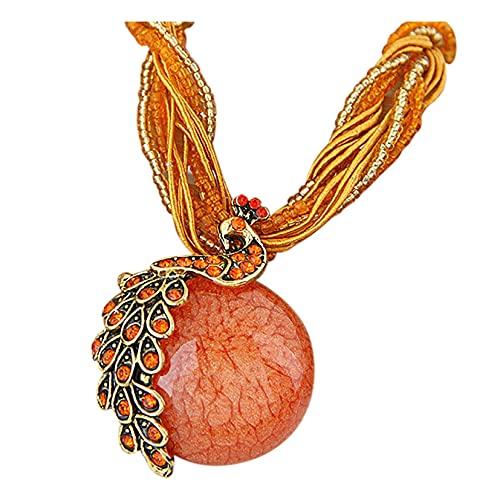 iLH Lightning Deals Womens Bohemian Jewelry Rhinestone Geometric Type Gem Pendant Statement Necklaces (X-D)