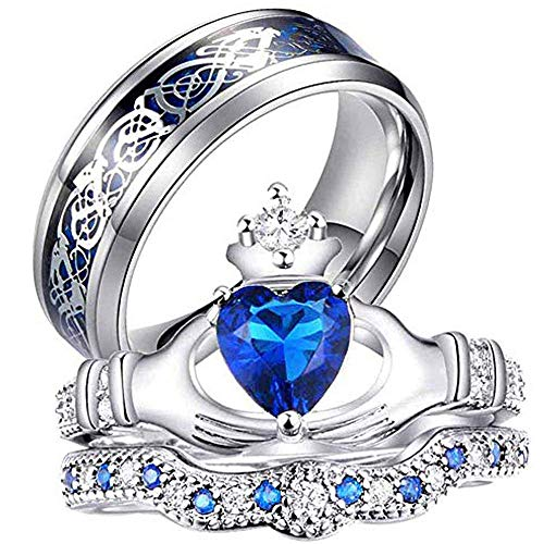 AONEW His and Hers Couple Rings Bridal Sets Heart Blue Cz Womens Wedding Ring Sets & Celtic Knot Stainless Steel Men Wedding Band Women Size 7