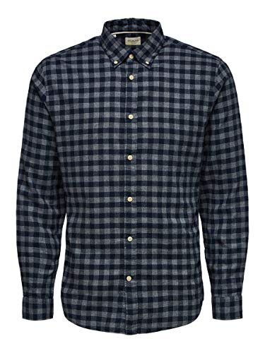 SELECTED HOMME Male Hemd Flannel MDark Blue 2