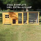 Zooprimus ❤ Poulailler en bois pour jardin extérieure 5 poules Cage Canard 2 perchoir Nichoir 215 x 80 x 68 cm - 147 FLEXI Extra