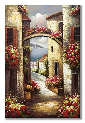 Paimuni 100% Hand Painted Canvas Wall Art Italy Town Mediterranean Tuscany Sea Coast Flowers Oil Painting Stretched and Framed Ready to Hang Landscape Scenery Wall Decor 24x36 Inch