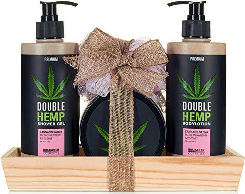 BRUBAKER Cosmetics Hanföl Dusch- und Pflege Set frische Erdbeeren & Kokosnuss mit Deko Tablett aus Holz
