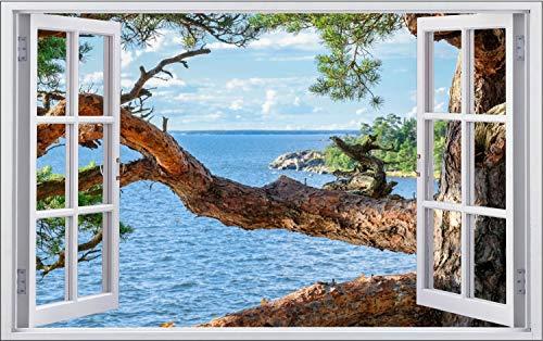 Baum Meer Strand Wasser Natur Wandtattoo Wandsticker Wandaufkleber F1538 Größe 120 cm x 180 cm
